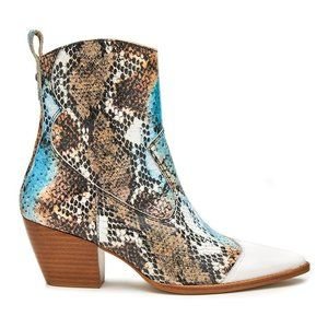 Matisse White Snake-Print Desire Leather Boot 8